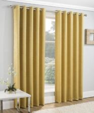 PAIRS OF MUSTARD GOLD GILT TEXTURED VELVET EYELET BLOCK OUT LIGHT LINED CURTAINS