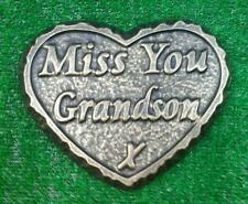 Grandson  large GRAVE SIDE TRIBUTE GARDEN MEMORIAL HANDMADE NATURAL STONE HEART
