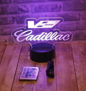 """Cadillac CTS V LED Lighted Sign W/ 16 Color Base And Remote 8""""x6.5"""" ATS STS SRX"""
