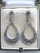 Beautiful Silver Art Deco Inspired Marcasite Hoop Tear Drop Earrings