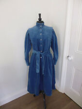 VINTAGE LAURA ASHLEY TEAL BLUE CORDUROY BELTED DRESS - LATE 70'S / 80'S - SZ 12