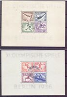 Deutsches Reich 1936 - Olympia Block 5 + 6 Tagesstempel - Michel 180,00 € (978)