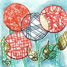 ZENTANGLE DRAWING FLOWERS - Original Art - abstract patterns unusual paintings