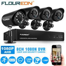 FLOUREON CCTV 8CH 1080N DVR Record 1500TVL IR-CUT Home Security Camera System UK