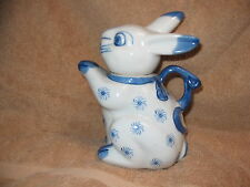 Blue & White Bunny Teapot - Unknown Trademark Stamp - Easter Rabbit Decor