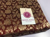 "Pure Silk Indian Banarsi Floral Woven Golden Metallic Brocade 45"" M260 Mtex"