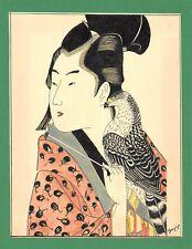 Dessin encre de chine & aquarelle Japon Hand made china ink signé Geneviève n34