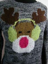 Rudolph Reindeer Sweater Ear Muffs Christmas Gray Medium Fuzzy Acrylic Music