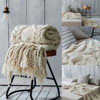 Warm Knitted Thick Soft Blankets Hand Yarn Bulky Knit Throw Sofa & Bed Blanket