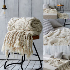 Handmade Knitted Blankets Large Chunky Soft Sofa Bed Warm Throw Blanket Winter