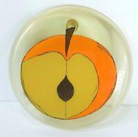 """Vintage Retro MCM Lucite Resin Trivet Orange Peach/Nectarine 6 3/4"""""""