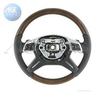 Mercedes-Benz GL350 GL450 GL550 GL63 ML350 Brown Ash Wood Leather Steering Wheel