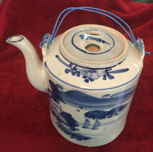 Antique Chinese Large blue and white Tea Pot