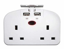 European 2 Way Travel Plug Power Adaptor 2 USB Ports 2 Pin Socket Double Plug