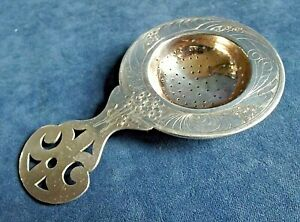 """SUPERB Large 6"""" ~ RUSSIAN ~ SOLID SILVER  ~ TEA STRAINER ~ c1900"""