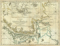 1776 Map Chart Of The Straits Of Magellan Chile Argentina Poster Vintage History