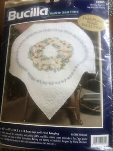 Bucilla Lap Quilt Stamped Counted Cross Stitch Kit Vintage Blooming Magnolias