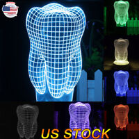 Touch Control 3D LED Night Light Tooth 7 Color Change LED Table Desk Lamp Gift