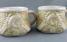 Coffee Mug x 2 Figural Fishing Creel Basket Raised Fish Art Pottery 8 oz unused