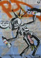 RD357 New York Graffiti Street Skeleton wth dick out wearing crown on Subway Map