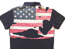 Ralph Lauren Denim and Supply Faded Navy Destroyed Flag Polo Shirt ultra Slim M