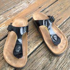 Birkenstock Black Patent Leather Gizeh Sandals EU 36 Womens Sz 5 Shoes Germany