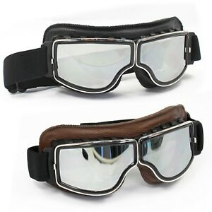 Sports Vintage Aviator Pilot Style Motorcycle Cruiser Scooter Goggles Black/Brow