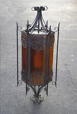 Large Vintage Spanish Style Wrought Iron WALL LIGHT w Decorative Glass