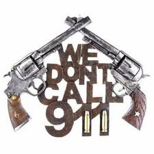 WE DON'T CALL 911 Pistol Signs Cowboy Police Siren Ammo Gun Man Cave Colt Decor