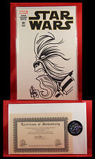 Star Wars #1 E Remarked & Signed By Ken Haeser Chewbacca Sketch Sold Out Sealed!