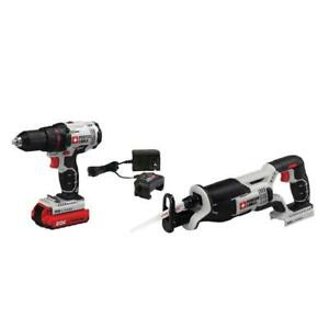 Porter-Cable PCCK603L2 20-Volt Reciprocating Saw and Drill Combo Tool Kit