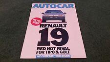 July 1988 RENAULT 19 vs VW GOLF FIAT TIPO + STORY ROAD TEST REPRINT UK BROCHURE