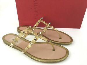 VALENTINO GARAVANI Rockstud Jelly PVC Thong Sandals Gold Glitter Flat Slide