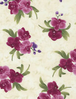 Timeless Treasures Spaced Orchid Bouquets Cream 100% cotton fabric by the yard