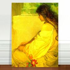 "Alphonse Mucha Girl with Tulips ~ FINE ART CANVAS PRINT 8x10"""