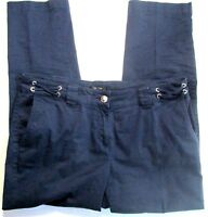 Nautica Womens Pants Blue Nautical Theme Anchor Button Cotton Stretch Size 10