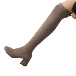 New Women's Over The Knee Boots Thigh High Stretch Upper Round Toe Chunky Heel D