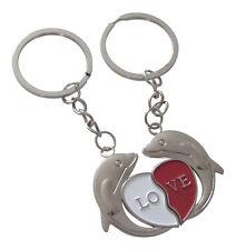 2 Porte-clés, bijoux de sac motif dauphin avec coeur à séparer, love pour couple