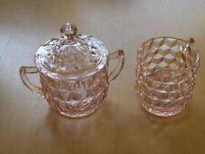 "Jeannette Glass Company Cube Cubist Lavender Pink 3"" Creamer & 3 5/8"" Sugar"