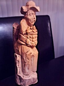 Vintage Hand carved Wood Figurine, Old Man with Basket W-coffee beans / potatoes