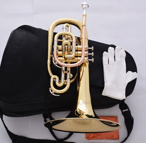 Professional Newest Marching Mellophone Golden Horn F Key Monel Valves W/Case