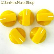 5 yellow potentiometer switch knobs guitar  amplifier etc stove pot knob + screw