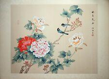 Vintage Oriental Watercolor, Asian Painting, Silk Paper, Birds on Peony Flower