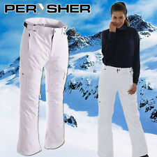 PERYSHER LIBERTY Women Pure White Ski Pants | Lady Stylish Match Snowboard Pants