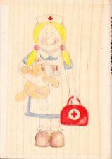 Enfermera Chica-Jolly Nation-madera sello de goma montado