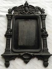 Antique c1860 Gutta Percha Civil War Lady Cherubs Angel Shell Picture Frame