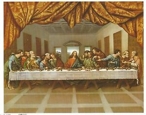 """Catholic Print Picture The LAST SUPPER Jesus with the Apostles 8x10"""""""