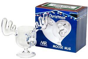 Christmas Eggnog Moose Mug - Holiday Gift Boxed Acrylic Safer Than Glass 8 oz.