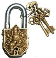 Goddess Saraswati Small Lock Antique Vintage Style Brass Handmade Padlock 2 Keys