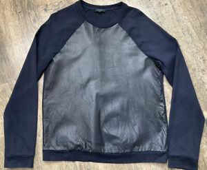 Mens Cos Designer Navy Black Leather Front Panel Sweatshirt Jumper Size M Vgc BE